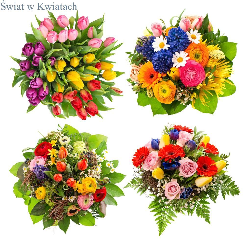cztery bukiety kwiatowe
